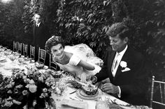 senator john kennedy and his bride, jacqueline bouvier kennedy, smile during their wedding reception. september 12, 1953, in newport, rhode island.