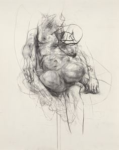 Muse on Stool (study) 2015. Charcoal on watercolour paper © Jenny Saville. courtesy Gagosian Gallery. Collection of the artist