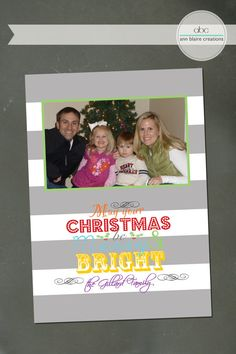 Custom Christmas Card Merry and Bright by annblairecreations, $15.00