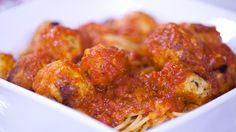 Meatballs   chicken parm = Alton Brown's juicy chicken parmesan balls