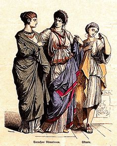 Ordinarily a Roman matron was dressed in a subligaculum, an under tunic, and a stola, an outer tunic.