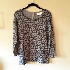 🎉HP🎉 LOFT Floral Back Button Sweater Loft Floral Back Button Sweater, gray with black and dark blue/dark gray. Scoop neck, 3/4 sleeves, with 5 button closure on the back. LOFT Sweaters