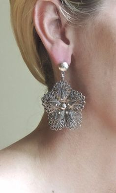 .925 Sterling Silver Filigree Earrings by ILARIA