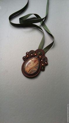 Купить Золотая осень - коричневый, сутаж, сутажные украшения, сутажный кулон, Кулон ручной работы