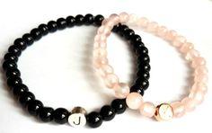 Namensarmbänder - Paarschmuck 2xEdelsteine♥black & rosé - ein Designerstück von Mein-Schmuckzauber bei DaWanda