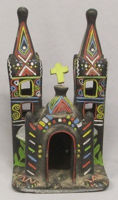 antique mexican pottery | Vintage Mexican Pottery Church