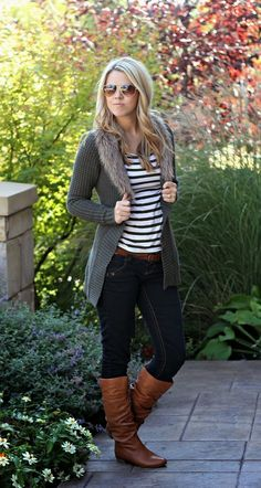 Fall Outfit With Grey Cardigan,Skinny Jeans and Long Boots