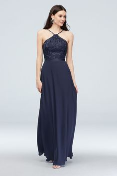 Embroidered floral blooms and leaves adorn the bodice of this Y-neck georgette bridesmaid dress. A grosgrain ribbon encircles the waist to complete the look. Polyester Back zipper; fully lined Dry clean Imported Also available in extra length Davids Bridal Bridesmaid Dresses, Bridesmaid Dress Styles, Prom Dresses, Formal Dresses, Wedding Dresses, Navy Sequin Dress, Grosgrain Ribbon, Bodice, Sequins