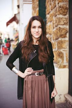 Chiffon and leather (by Elle F) http://lookbook.nu/look/4653161-Chiffon-and-leather