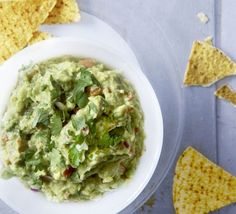Best-ever chunky guacamole recipe - Recipes - BBC Good Food--great tip: If you are not serving guacamole right away, put a stone in it to help prevent browning--cover with plastic wrap and chill in refrigerator.