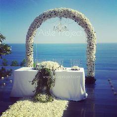 Aisle Project Bali Wedding Florist Decorator Weddings Bulgari Bvlgari Ceremony White Arch Flowers