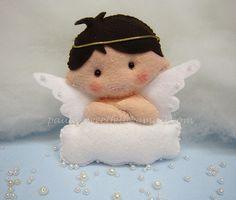 ♥♥♥ Anjinho do Vasquinho...  Identificador de mesa para o batizado do sobrinho mais lindo da tia!  (alt: 12 cm larg: 13cm)