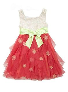f6abac6f59d Rare Editions Big Girls Ivory Coral Lime Flower Cascading Mesh Ruffle Dress  7     Check out this great product. (This is an affiliate link)