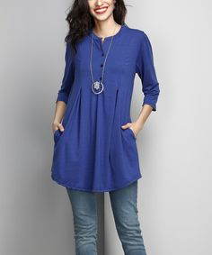 Love this Blue Notch Neck Side-Pocket Tunic by Reborn Collection on #zulily! #zulilyfinds