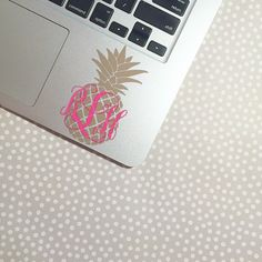 Pineapple Vine Monogram  Vine Monogram  Pineapple Decal by moonandstarco on Etsy
