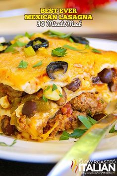 Mexican Lasagna is made with layer upon layer of spectacular south-of-the-border flavors. A drool worthy dish with just enough heat to wake up your taste buds, you will surely beat the picky palates in your house with this fabulous casserole that takes 1 Mexican Lasagna Recipes, Beef Recipes, Dinner Recipes, Cooking Recipes, Mexican Lasagne, Tex Mex Lasagna Recipe, Mexican Lasagna With Tortillas, Aloo Recipes, Mexican Desserts