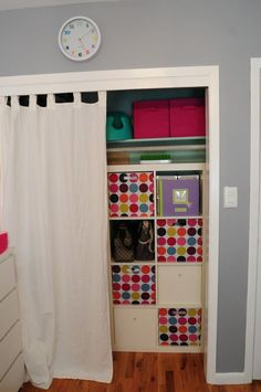 Closet organization-turn it the other way so she can reach all her clothes her self (apartment closet organization kids)