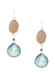 Alanna Bess Jewelry Blue Topaz & Jasper Earrings: Sterling silver, faceted mystic blue topaz, and jasper earrings with pyrite details