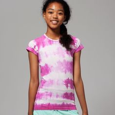 Ivivva by Lululemon Fly Tech Tee*Tie Dye Top **NOTE:  This is a girls' size Large which fits like a size 2/4 in Lululemon Swiftly Tech top**. Performance Mesh venting will help keep you cool while this short sleeve tee moves and stretches with you Silverescent® technology powered by X–STATIC ® inhibits the growth of odour–causing bacteria on the shirt Slim fit with a seamless body, this tee was built to be comfortable. Where there are seams, they are flat to reduce chafing. Measures 13.5…