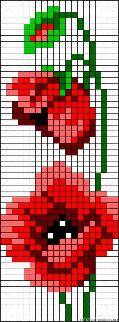 Poppy flower perler bead pattern I am going to use 2 1/2 inch squares and make a wall hanging -- looks like it will not be too hard : )