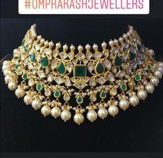 Kundan Emerald Choker by Omprakash Jewellers