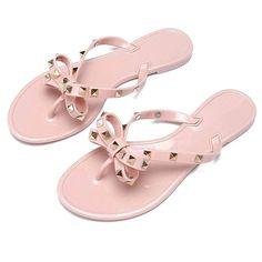 4a854e98e0d0c0 Utop Women s Rivets Bowtie Flip Flops Jelly Thong Sandal Summer Beach Rain  Shoes