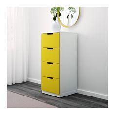 NORDLI Komoda, 4 szuflady - żółty/biały - IKEA