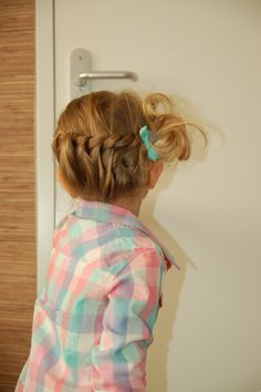 Toddler hair: crown braid. Maybe I could do a sideways French for a similar effect