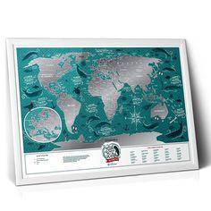 Подарочная скретч-карта мира Travel Map «Мarine world» - уникальная скретч-карта мира в подарок друзьям, коллегам, родным, любителям дальних морских путешествий. Скретч-слой стирается с помощью монетки по мере посещения определенного региона. Открывайте все тайны водного мира вместе с не