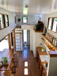 We absolutely love this tiny house design! What do you think? Tag a fellow tiny … We absolutely love this tiny house design!✨ What do you think? Tag a fellow tiny house lover! Modern Tiny House, Tiny House Living, Tiny House Plans, Tiny House Design, Tiny House On Wheels, Tiny House Loft, Best Tiny House, Tiny House From Shed, Homes On Wheels