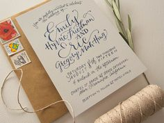 Midnight in San Francisco Watercolor Hand Lettered Wedding Invitations by Bright Room Studio / Oh So Beautiful Paper