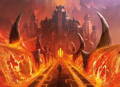 The gates of Rakdos. Rakdos is more of a cult than a guild in Ravinca. They kill, sacrifice, and butcher to attempt (and sometime succeed) in bringing forth demons and monsters to further their guild.