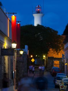 Lighthouse Lit Up at Dusk, Colonia Del Sacramento, Uruguay