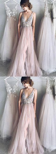 champagne tulle long prom/evening/party dresses #prom #promdresses #promdress #prom2018 #eveningdress #eveninngdresses