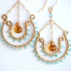 Double Hoop Earrings Handmade Gold Filled Bohemian Jewelry Apatite Citrine.