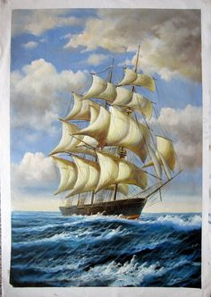 24 by 36 inches Tall Ship Nr.035 Museum Quality Oil by Artseasy