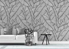 Fondo de pantalla extraíble tropical. Banana Leaves Wallpaper. | Etsy