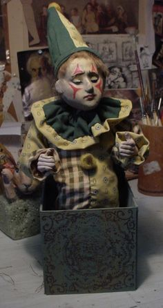 Still making Jack in the boxes working on three right now for the season coming up. Send In The Clowns, Jack In The Box, Pull Toy, Mug Shots, All Things Christmas, Dungeons And Dragons, Art Dolls, Doll Clothes, Weird