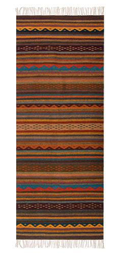 Zapotec rug, 'Glowing Embers' (2.5x6.5) by NOVICA