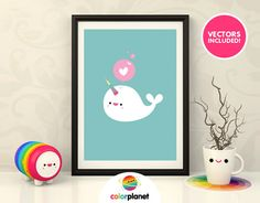 Digital printable cute vector narwhal clipart by ColorPlanet