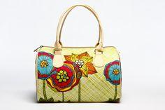 Fantasy Flower Lime Handbag for Ladies, Summer Handbag with Bright Print, Summer Barrel Bag, Fabric Summer Handbag, Shoulder Handbag, 5004 by MyBrightBag on Etsy