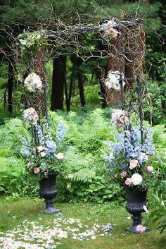 yaddo gardens whimsical woodland wedding arch