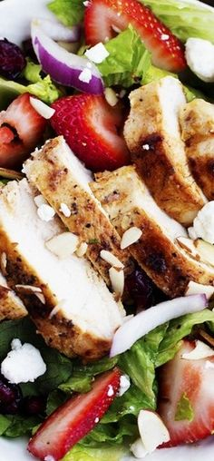 Strawberry Chicken Salad with Strawberry Balsamic Dressing
