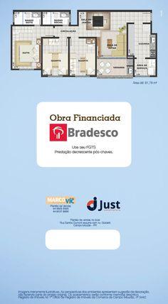 Planta do Apartamento - Residencial Santorini - Campo Mourão - Construtora Just