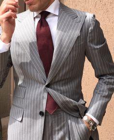 Manhattan Light Grey Pinstripe Suit Epitomising the tailor-made craftsmanship for which DanielRe is Gentleman Mode, Gentleman Style, Best Suits For Men, Cool Suits, Mens Fashion Suits, Mens Suits, Mens Tailored Suits, Grey Pinstripe Suit, Light Grey Suit Men
