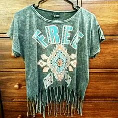 Ashley H  Daytrip Fringe Top Gray with FREE printed on it & diamond shaped patterns that are all outlined in rhinestones Daytrip Tops