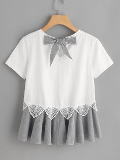 Striped Bow And Ruffle Hem Mixed Media Tee -SheIn(Sheinside)