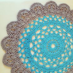 Crocheted Giant Doily Rug, made with t-shirt yarn.