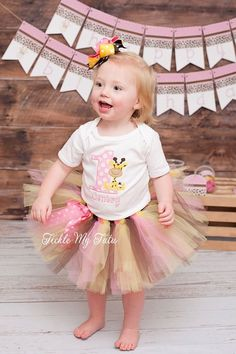 Pink and Yellow Giraffe Themed Birthday Tutu by TickleMyTutu, $54.95