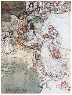 he never had so sweet a changeling.    Arthur Rackham, from A Midsummer-Night's Dream, by William Shakespeare, London, New York, 1908.